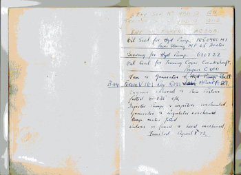 Hand writing on inside cover of the manual