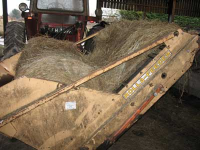 Silage feeder on massey ferguson 575 tractor