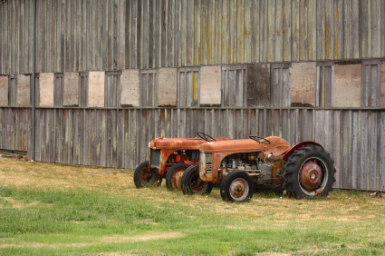 Two grey ferguson tractors left behind a shed