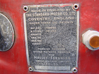 Identification and serial number plate from Ferguson FE35 tractor