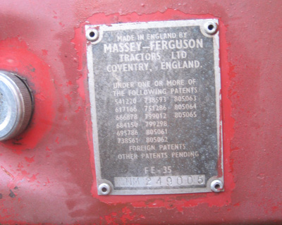 MF35 identification plate