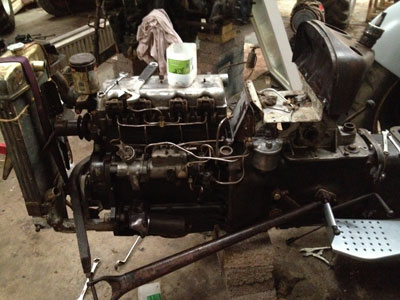 FE35 engine being rebuilt
