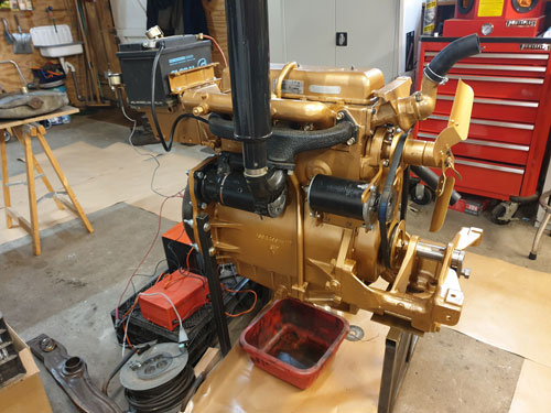 Painted and rebuilt Ferguson diesel engine