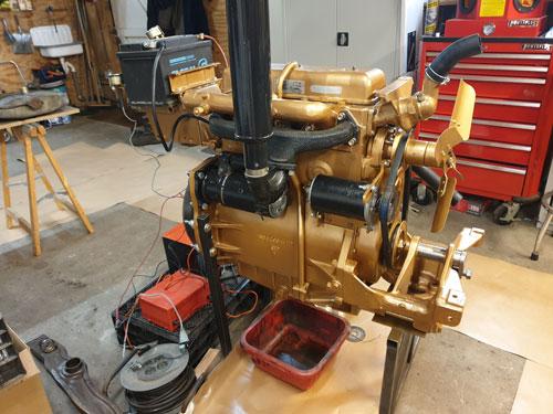 Painted and rebuilt Ferguson diesel engine