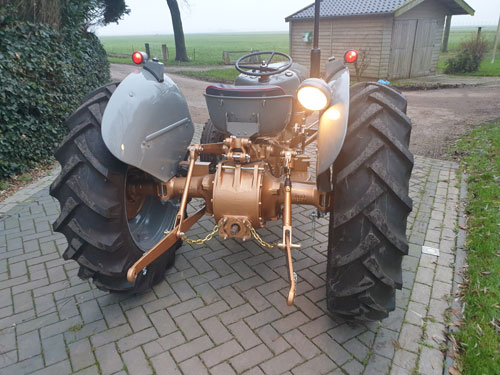 Rear end of Ferguson FE 35 golden grey tractor, fully restored with lights